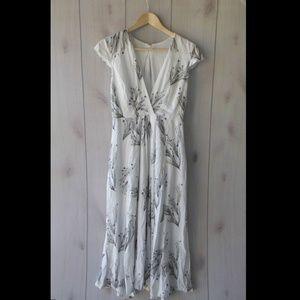 Free People White Surplice Cap Sleeve Maxi Dress